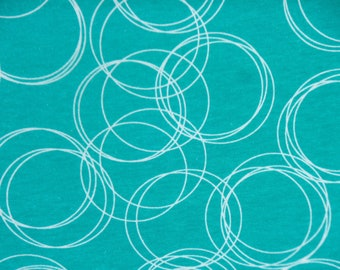 Riley Blake Knit Fabric - K4873 Teal White Circles Cotton Lycra Knit Fabric - Riley Blake Cotton Spandex - Childrens Kids Knit Fabrics