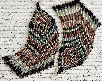 Fringe Earrings, Seed Bead Earrings, Beaded Earrings, Native American Beaded Earrings, Seed Bead Jewelry, Long Earrings, Beaded Jewelry
