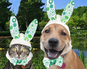 St. Patricks day bow tie collar, bunny ears Dog-Cat Rabbit Easter Costume Hat