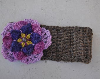 Brown Wool Flower Headband with Buttons
