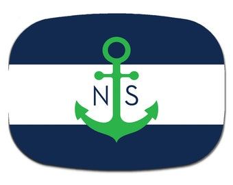 Personalized serving platter custom monogram melamine  Nautical Navy