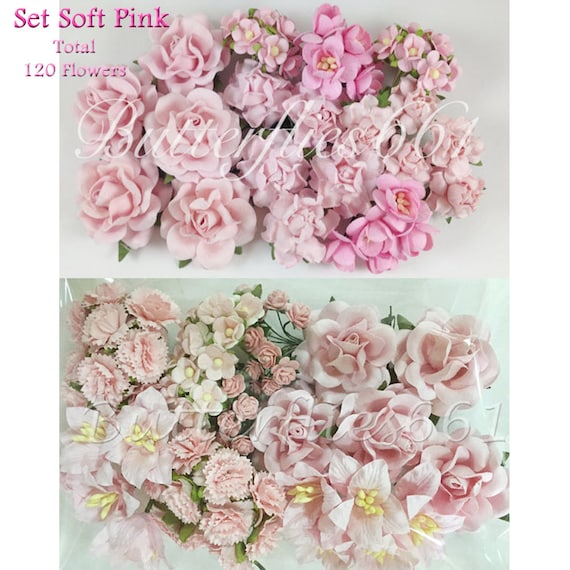 Whole sale set of soft pink 120 mixed flowers handmade mulberry whole sale set of soft pink 120 mixed flowers handmade mulberry paper flowers diy wedding scrap book free shipping from butterflies661 on etsy studio mightylinksfo