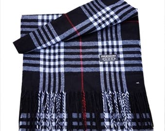 Men Super Soft Check Style Pashmina Scarf Luxury Feel Scarf For Day To Evening Occasions (Black)