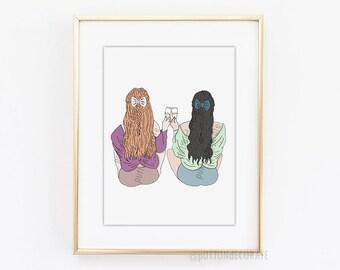 Celebrating friendship art print, Girls celebrate Art Print, champagne digital art best friend printable art, gift for best friend art print