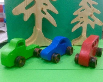 Handcrafted wooden toy cars