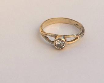 Diamond Engagement ring- Handmade 4.5 MM Diamond Natural Tree Vine 14 kt Yellow Gold Wedding Engagement band .33 carat, Nature Wedding, Tree