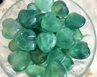 Green Fluorite Crystal Heart /  Fluorite Crystals / Healing Stones and Crystals