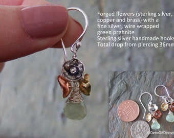 Hand forged, floral 'Posy' earrings, with copper, brass and sterling silver flowers and prehnite gems
