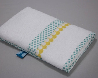 """Small towel """"Calf"""" - blue dots & yellow scales"""