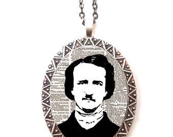 Edgar Allan Poe Necklace Pendant Silver Tone - Goth Author English Literature Majors Gift the Raven
