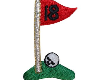 ID 1500 18th Hole Golf Ball Patch Last Finish Craft Embroidered Iron On Applique