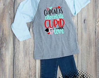 Valentines Tshirt Cupid Youth Kid Child Unisex Cotton  t-shirt vinyl Cupcake Chocolate