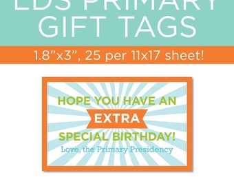 LDS Primary gift tags! Perfect for Primary birthday gifts!