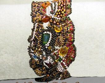 Earth Dreams- beadwoven bracelet- cuff bracelet-OOAK handmade woven bracelet-beadweaving-abstract beaded bracelet-art to wear- gift for her