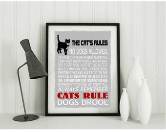 Funny cat gifts, cat print, wall decor, cat lover gift and pet room decor