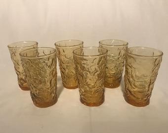 Set of Six (6) Amber Lido Juice Glasses