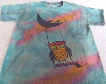 Owls swinging and mice sitting on a crescent moon, on back owl is flying, man's large t-shirt, discharged and dyed, gorgeous colors