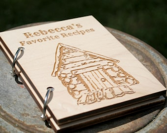 Personalized Recipe Card Book Log Cabin Design with Blank Pages, Gift for Baker, Chef or Cook Country Kitchen, Rustic Design