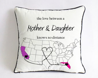 long distance mom daughter pillow case-mom birthday gift-mothers day gift from daughter-mom Xmas gift-mother daughter love knows no distance