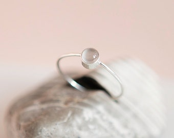 Grey Moonstone Ring | Sterling Silver | Stacking Ring | June Birthstone | Minimalist Ring | Thin Ring | Gift For Her