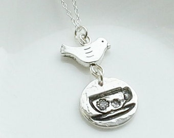 Solid Fine Silver Teacup Necklace, Alice in Wonderland Tea Party