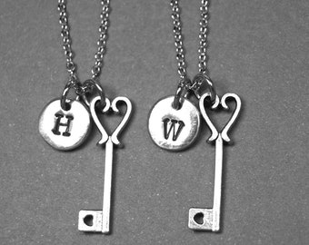 Best friend necklace, key necklace, heart key necklace, key jewelry, bff necklace, love key necklace, friendship jewelry, initial necklace