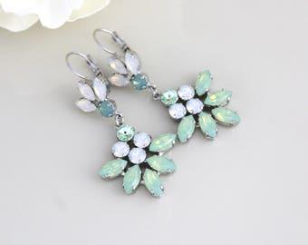 Opal Wedding earrings, Bridal earrings, Swarovski earrings, Bridal jewelry, Mint green earrings, White opal earrings, Chandelier earrings