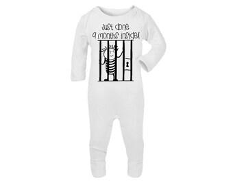 Super Cute 'Just done 9 Months inside' White Onsie Sleepsuit