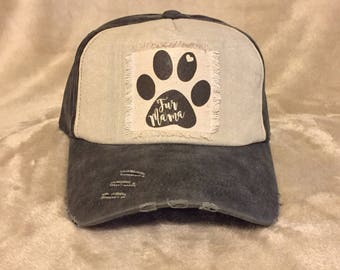 Black and White Baseball cap with Fur Mama Patch