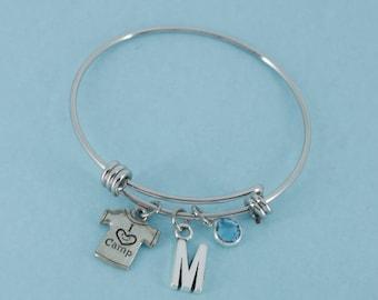Little Girl's Summer Camp Bangle Bracelet in silver tones.   Little girls jewelry.  Little girls bracelet.  Initial M.  Camp bracelet.