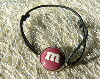 M bracelet & me plum bow s sliding belly cabochon 14mm