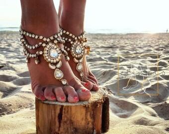 Beach Wedding Barefoot Sandals,Bridal Foot Jewelry,Boho Slave Anklet,Wedding Anklet,Bridesmaid Accessories,KEEVA  design