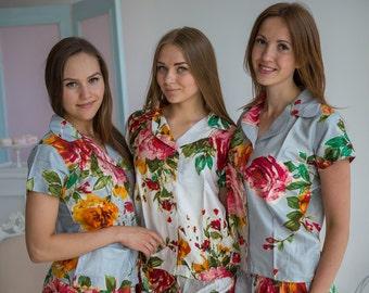 New Premium Silver Large Floral 2 Piece Pj Sets, Getting Ready Pajamas, Bridesmaids Button Down Shirts, Bridesmaids Gifts, Summer Shorts
