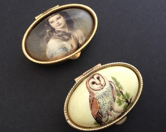 2 vintage pill boxes, one with owl and other with a woman