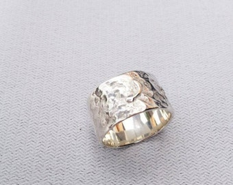Silver wide, improvised ring - Unexpectedness