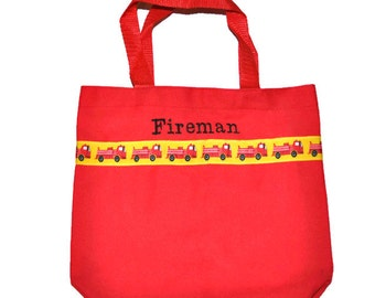 Fireman Tote Bag with Monogram Name Embroidered on it, Personalized Bag, Swin Bag, Toy Bag, Boy Tote Bag, Fire Truck Bag