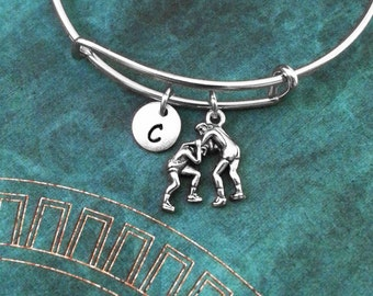 Wrestlers Bangle Bracelet Silver Wrestling Bracelet Wrestler Gift Expandable Bracelet Stackable Bangle Adjustable Bangle Personalized Bangle