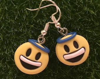 OOAK sculpted Angel Smile Emoji Earrings HANDMADE Stainless Steel