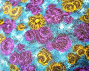 4 yards, teal, purple, yellow abstract floral polyester fabric