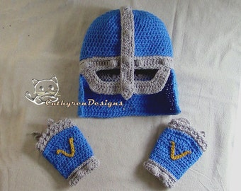 Knight Helmet with Flip up-down Mask, Cuffs, Crochet Pattern INSTANT DOWNLOAD