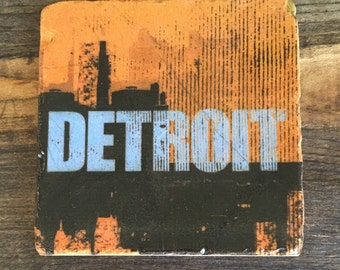 Detroit skyline distressed logo in Mustard Yellow, Coaster with cork backing