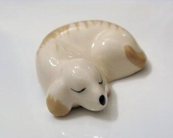 1970s Miniature Sleeping Dog ~ Dollhouse Pet ~ Small Figurine