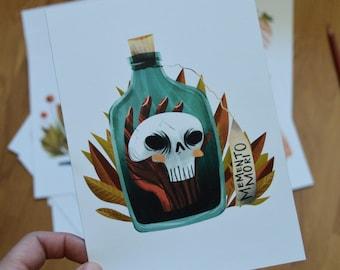 5x7 Memento Mori Skull Illustration