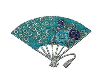 ID 3359 Japanese Folding Fan Patch Oriental Flowers Embroidered Iron On Applique
