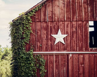 Red Farmhouse Decor, Primitive Fixer Upper Decor Wall Art Print or Canvas Art, Barn Art, Barn Print, Red Barn with Star, Country Art.