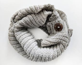 Griege Knit Buttoned Infinity Scarf