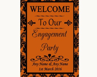 Burnt Orange Damask Welcome To Our Engagement Party Personalised Wedding Sign