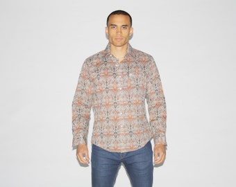 1970s Pierre Cardin PaisleyShirt - 70s Designer Shirt - Vintage Button Up Shirts - MT0081
