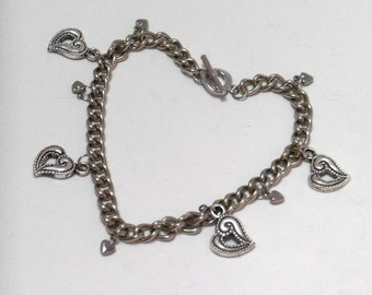 Cute Heart Charm Bracelet, 100% Stainless Steel, Chain Bracelet, Heart Shaped Toggle Clasp
