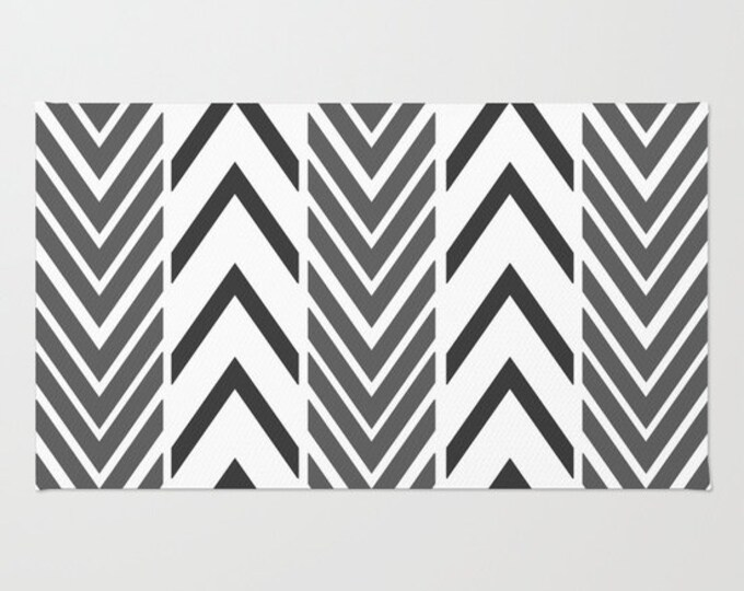 Black and White Floor Rug - Door Rug - Black Arrows - Bathroom Rug  - Original Art - Throw Rug - Black ZigZag - Made to Order